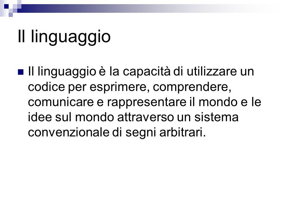 Il linguaggio Il linguaggio è la capacità di utilizzare un codice per esprimere, comprendere, comunicare e rappresentare il mondo e le idee sul mondo