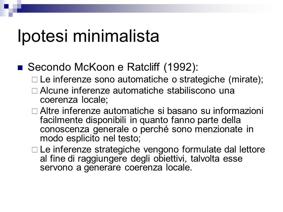 Ipotesi minimalista Secondo McKoon e Ratcliff (1992): Le inferenze sono automatiche o strategiche (mirate); Alcune inferenze automatiche stabiliscono