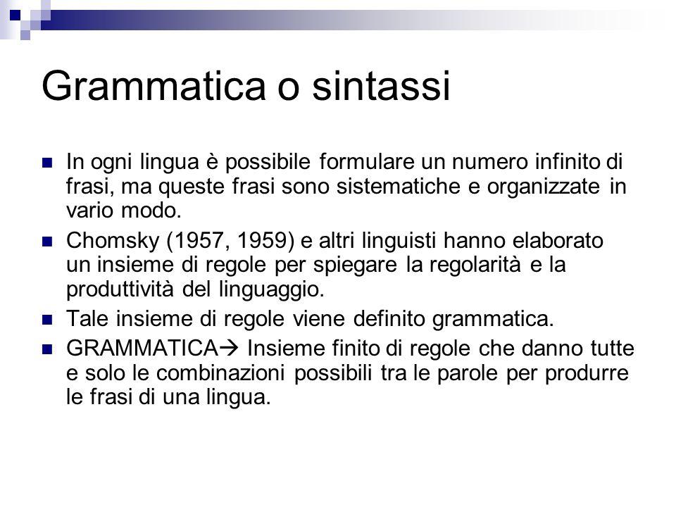 Grammatica o sintassi In ogni lingua è possibile formulare un numero infinito di frasi, ma queste frasi sono sistematiche e organizzate in vario modo.