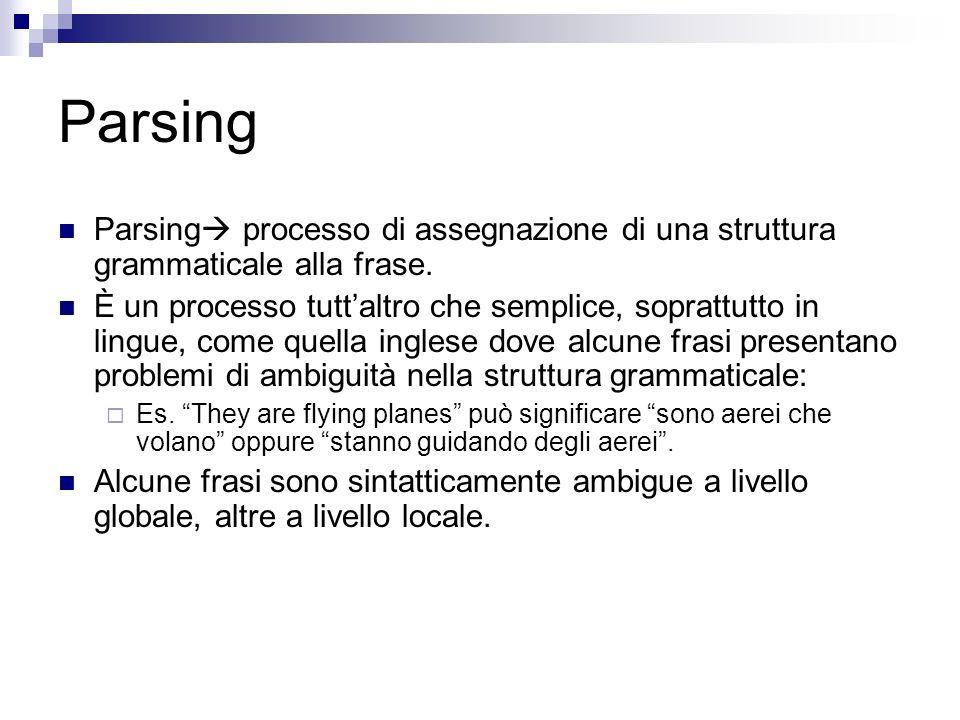 Parsing Parsing processo di assegnazione di una struttura grammaticale alla frase. È un processo tuttaltro che semplice, soprattutto in lingue, come q