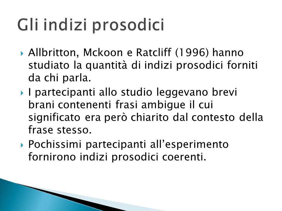 Allbritton, Mckoon e Ratcliff (1996) hanno studiato la quantità di indizi prosodici forniti da chi parla. I partecipanti allo studio leggevano brevi b