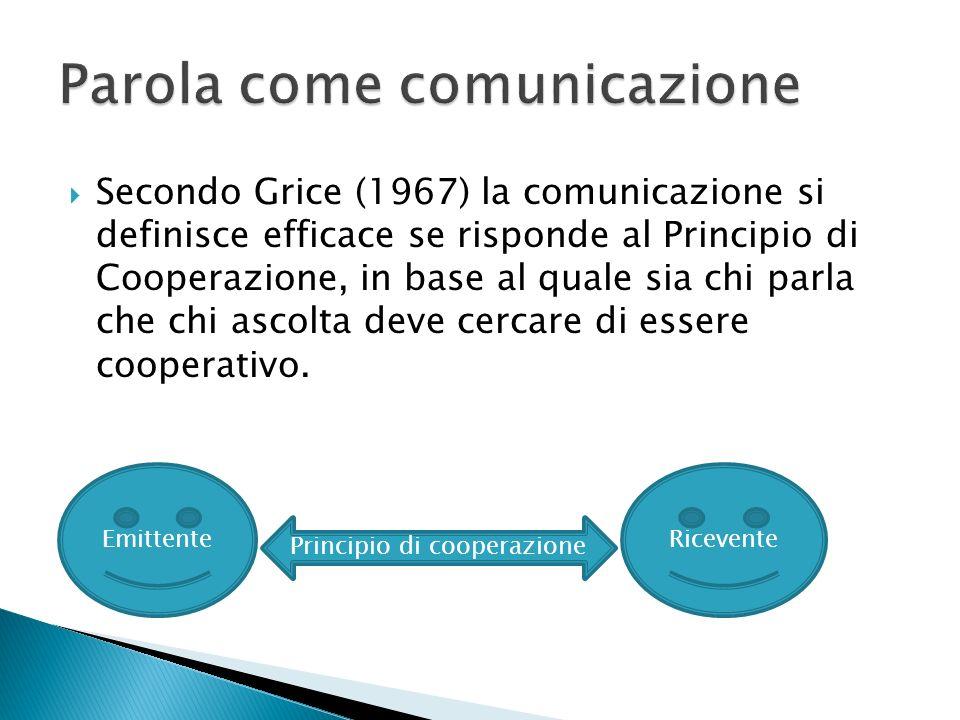 Secondo Grice (1967) la comunicazione si definisce efficace se risponde al Principio di Cooperazione, in base al quale sia chi parla che chi ascolta d