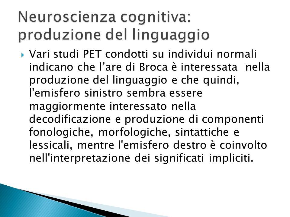 Vari studi PET condotti su individui normali indicano che lare di Broca è interessata nella produzione del linguaggio e che quindi, l'emisfero sinistr