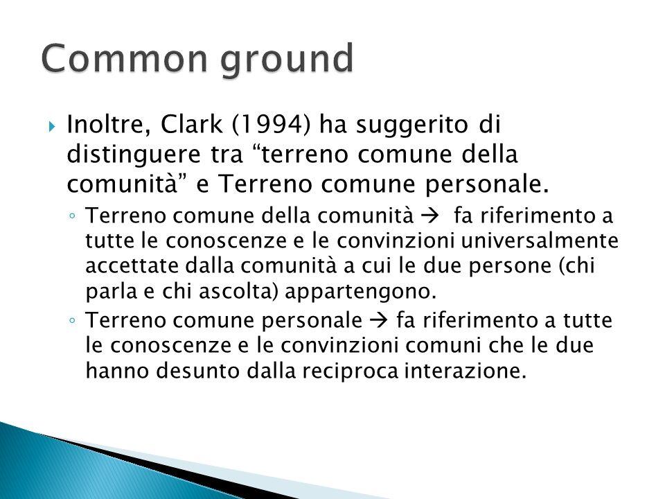 Inoltre, Clark (1994) ha suggerito di distinguere tra terreno comune della comunità e Terreno comune personale. Terreno comune della comunità fa rifer