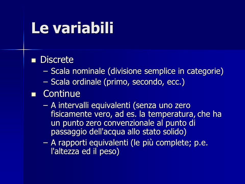 Le variabili Discrete Discrete –Scala nominale (divisione semplice in categorie) –Scala ordinale (primo, secondo, ecc.) Continue Continue –A intervalli equivalenti (senza uno zero fisicamente vero, ad es.