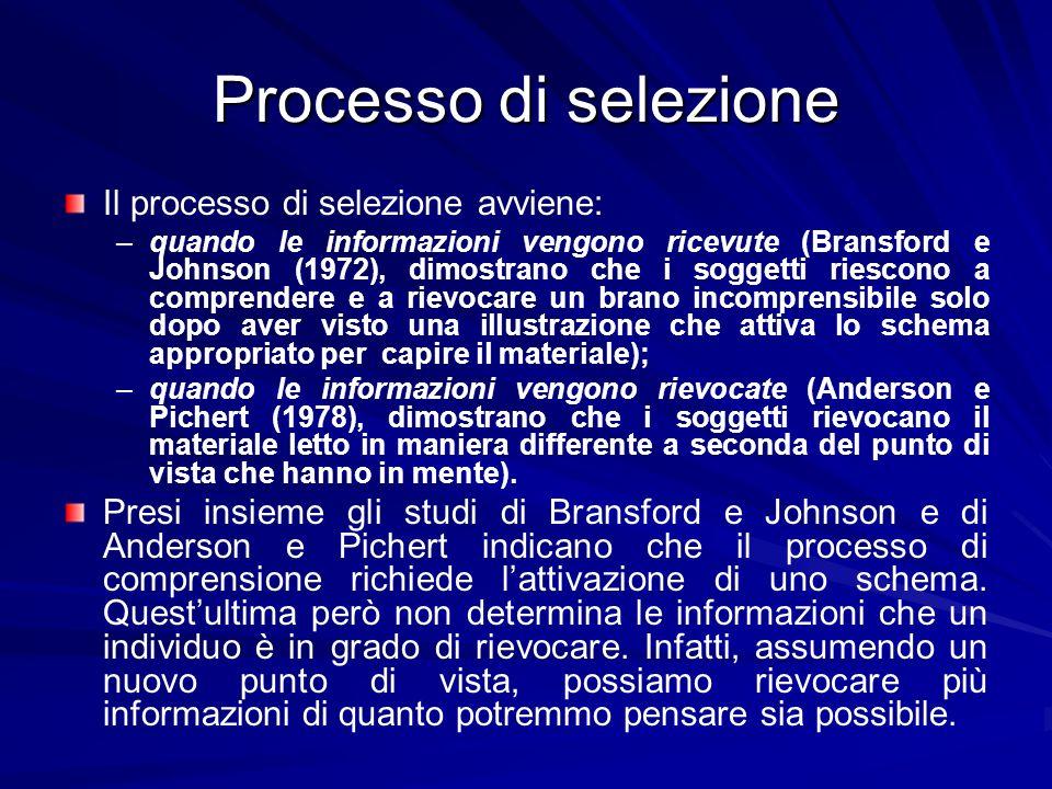 Processo di selezione Il processo di selezione avviene: – –quando le informazioni vengono ricevute (Bransford e Johnson (1972), dimostrano che i sogge