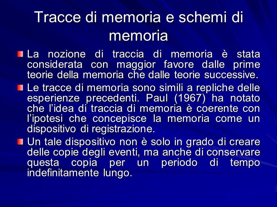 Tracce di memoria e schemi di memoria La nozione di traccia di memoria è stata considerata con maggior favore dalle prime teorie della memoria che dal