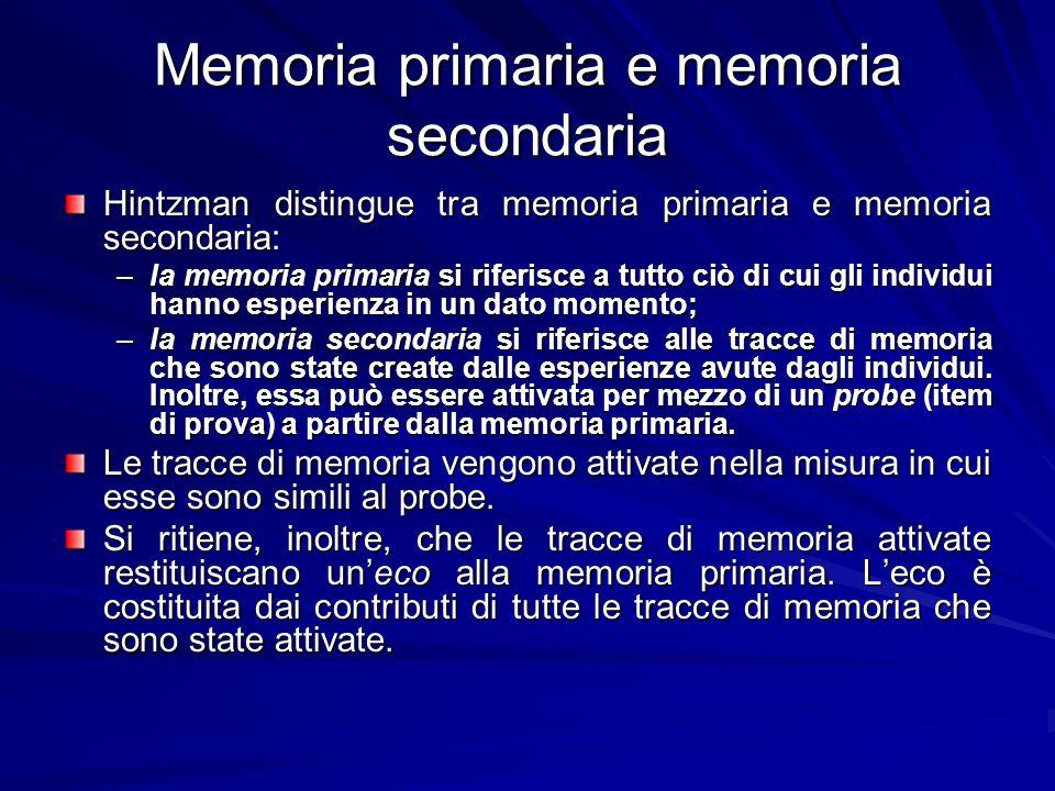 Memoria primaria e memoria secondaria Hintzman distingue tra memoria primaria e memoria secondaria: –la memoria primaria si riferisce a tutto ciò di c