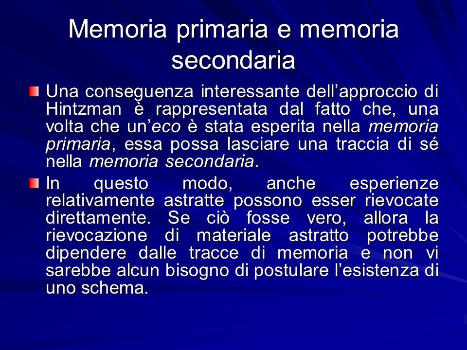 Memoria primaria e memoria secondaria Una conseguenza interessante dellapproccio di Hintzman è rappresentata dal fatto che, una volta che uneco è stat