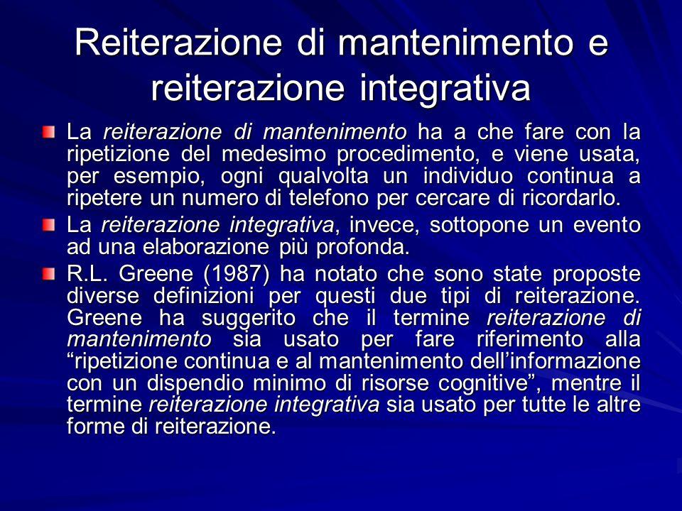 Reiterazione di mantenimento e reiterazione integrativa La reiterazione di mantenimento ha a che fare con la ripetizione del medesimo procedimento, e