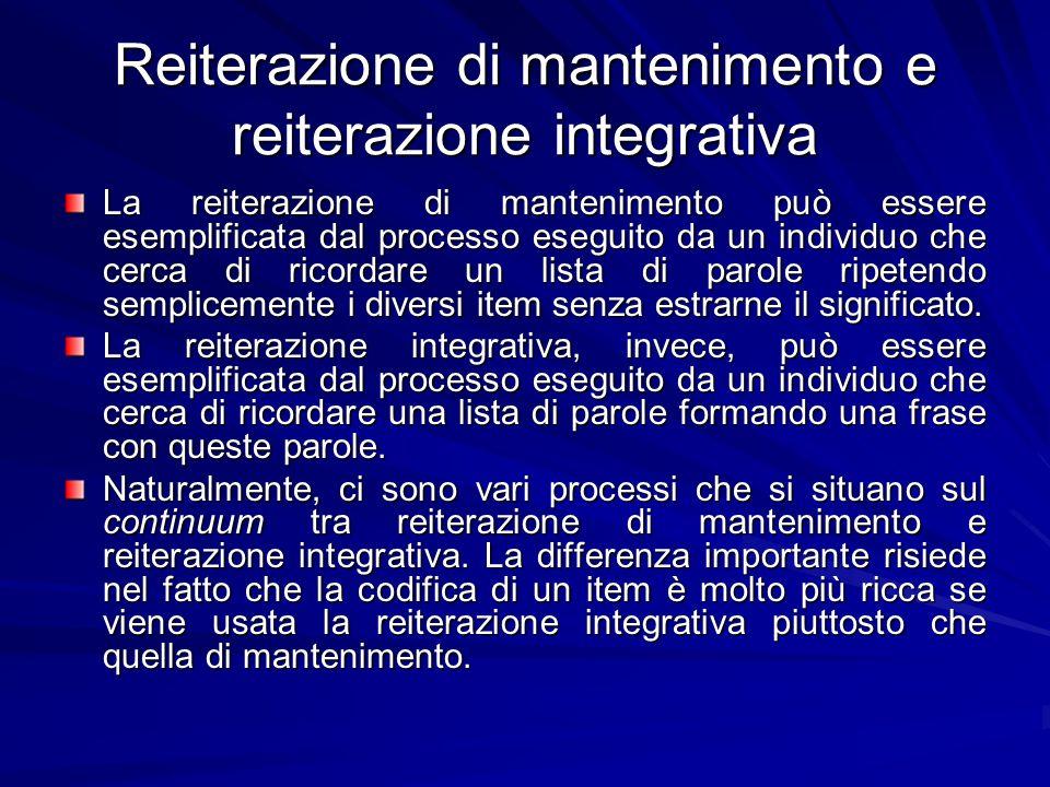 Reiterazione di mantenimento e reiterazione integrativa La reiterazione di mantenimento può essere esemplificata dal processo eseguito da un individuo