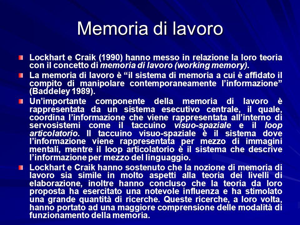 Memoria di lavoro Lockhart e Craik (1990) hanno messo in relazione la loro teoria con il concetto di memoria di lavoro (working memory). La memoria di
