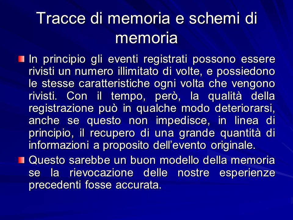 Tracce di memoria e schemi di memoria In principio gli eventi registrati possono essere rivisti un numero illimitato di volte, e possiedono le stesse