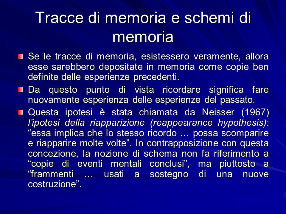 Tracce di memoria e schemi di memoria Se le tracce di memoria, esistessero veramente, allora esse sarebbero depositate in memoria come copie ben defin