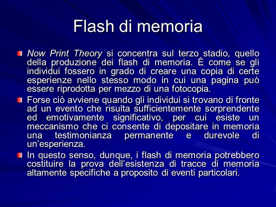Flash di memoria Now Print Theory si concentra sul terzo stadio, quello della produzione dei flash di memoria. È come se gli individui fossero in grad