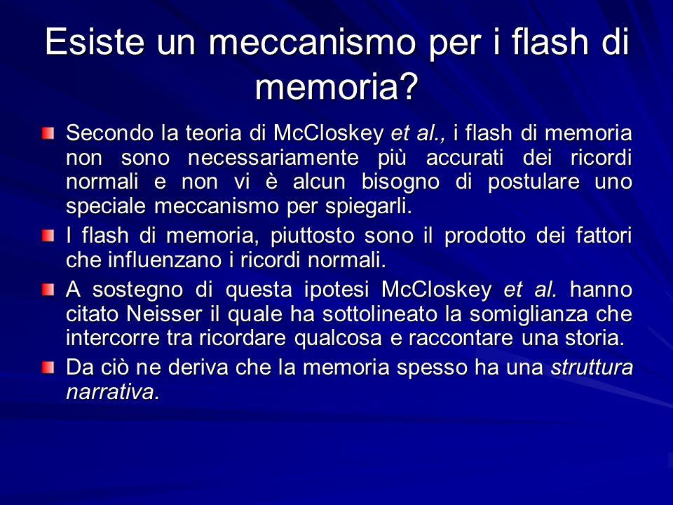 Esiste un meccanismo per i flash di memoria? Secondo la teoria di McCloskey et al., i flash di memoria non sono necessariamente più accurati dei ricor
