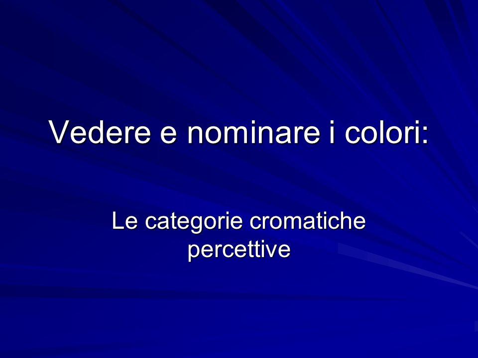 Vedere e nominare i colori: Le categorie cromatiche percettive