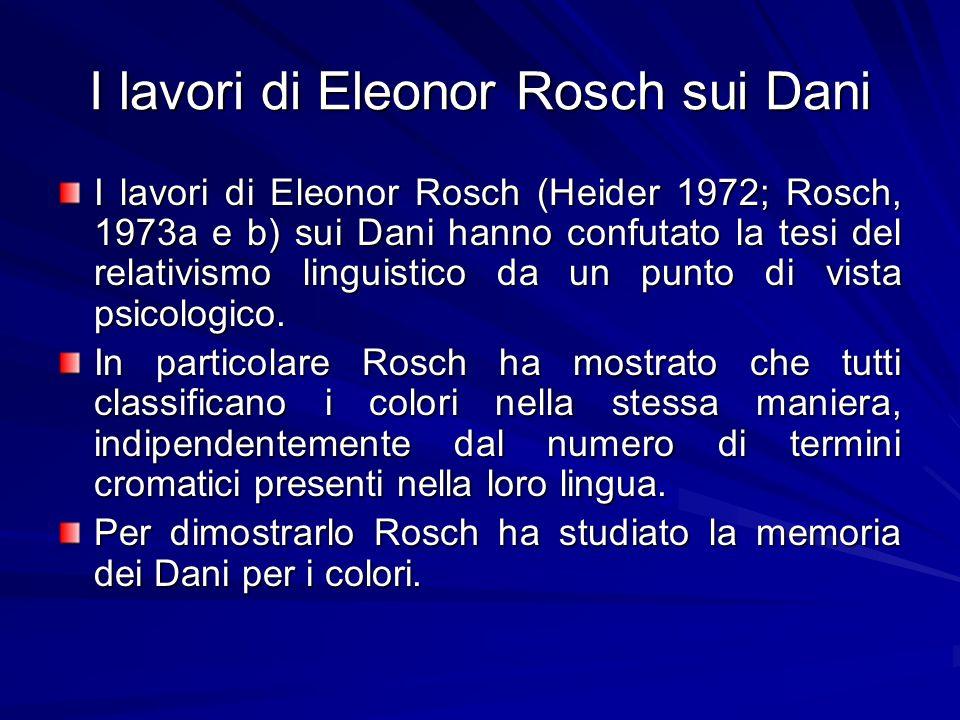 I lavori di Eleonor Rosch sui Dani Il test consisteva nel mostrare un colore e nel chiedere, dopo un intervallo di 30 secondi, di scegliere in una matrice di 322 colori (tavola di Munsell) il colore più vicino a quello visto.