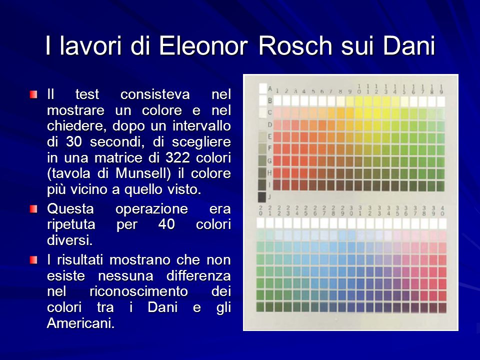 I lavori di Eleonor Rosch sui Dani Il test consisteva nel mostrare un colore e nel chiedere, dopo un intervallo di 30 secondi, di scegliere in una mat