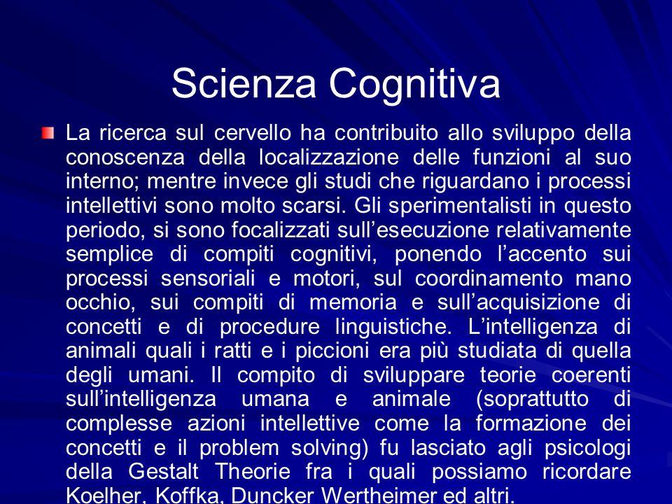 Scienza Cognitiva La ricerca sul cervello ha contribuito allo sviluppo della conoscenza della localizzazione delle funzioni al suo interno; mentre inv