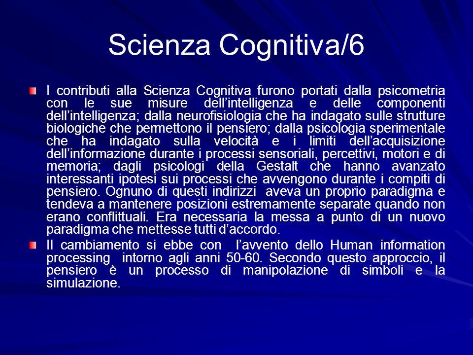 Scienza Cognitiva/6 I contributi alla Scienza Cognitiva furono portati dalla psicometria con le sue misure dellintelligenza e delle componenti dellint