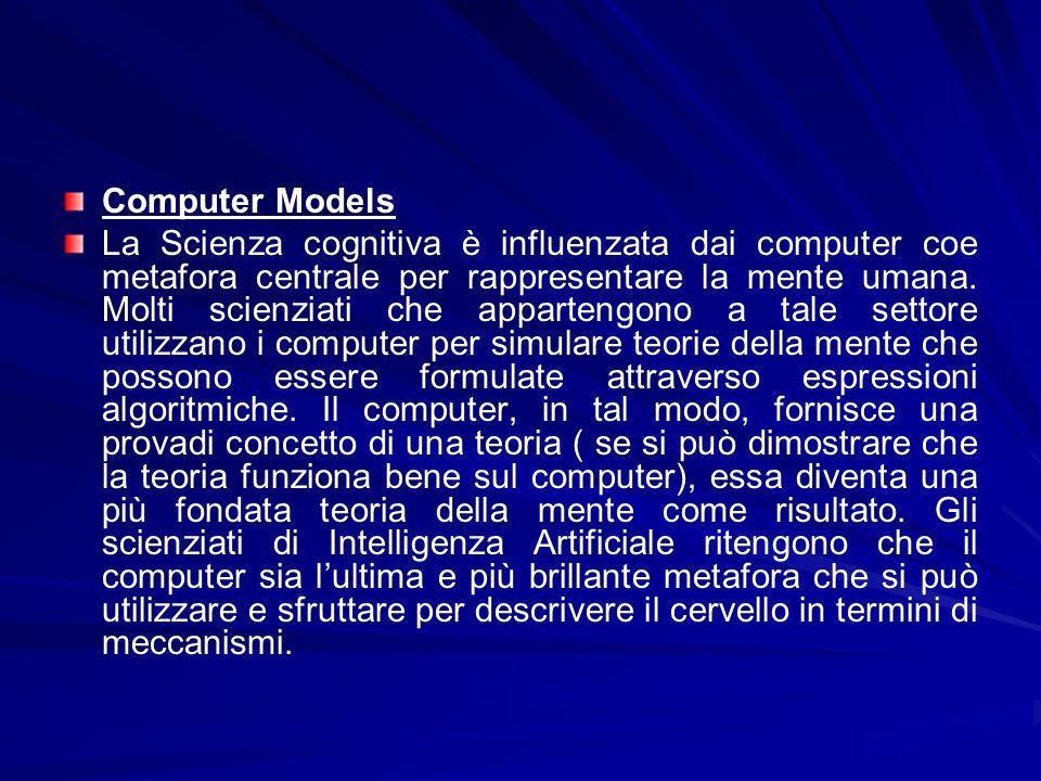 Computer Models La Scienza cognitiva è influenzata dai computer coe metafora centrale per rappresentare la mente umana. Molti scienziati che apparteng