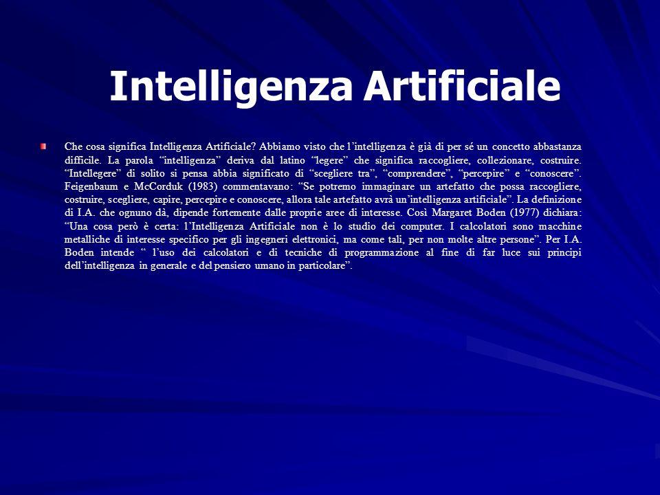 Intelligenza Artificiale Che cosa significa Intelligenza Artificiale? Abbiamo visto che lintelligenza è già di per sé un concetto abbastanza difficile