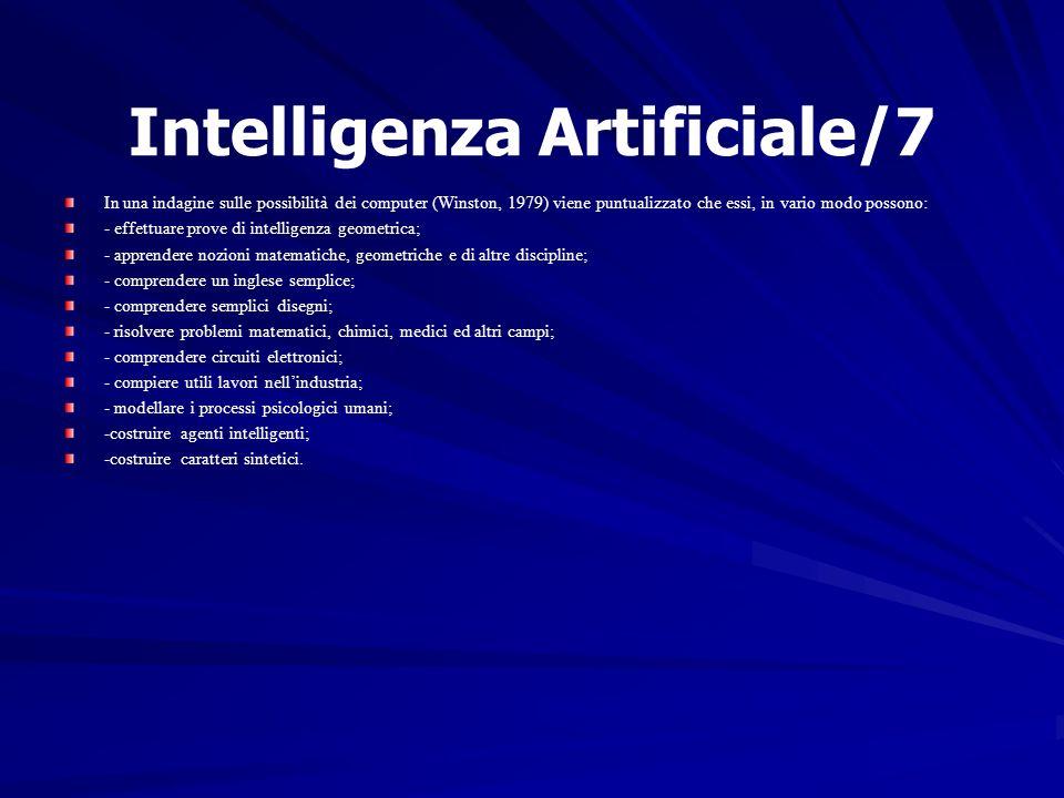 Intelligenza Artificiale/7 In una indagine sulle possibilità dei computer (Winston, 1979) viene puntualizzato che essi, in vario modo possono: - effet