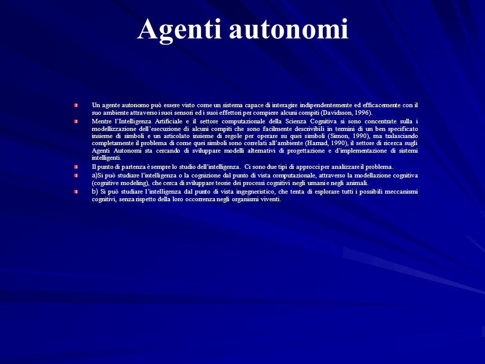 Agenti autonomi Un agente autonomo può essere visto come un sistema capace di interagire indipendentemente ed efficacemente con il suo ambiente attrav