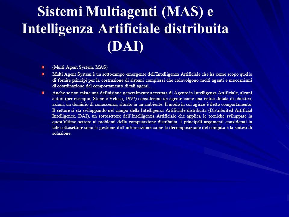Sistemi Multiagenti (MAS) e Intelligenza Artificiale distribuita (DAI) (Multi Agent System, MAS) Multi Agent System è un sottocampo emergente dellInte