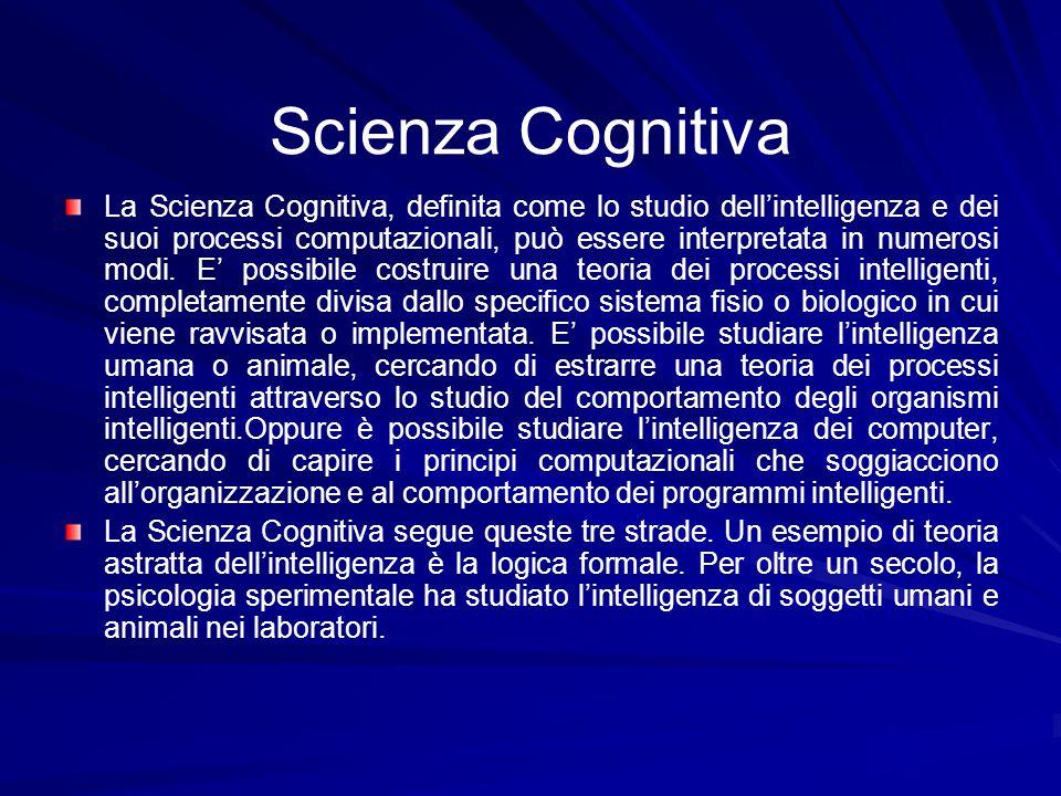 Scienza Cognitiva La Scienza Cognitiva, definita come lo studio dellintelligenza e dei suoi processi computazionali, può essere interpretata in numero