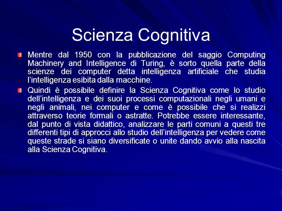 Scienza Cognitiva Mentre dal 1950 con la pubblicazione del saggio Computing Machinery and Intelligence di Turing, è sorto quella parte della scienze d