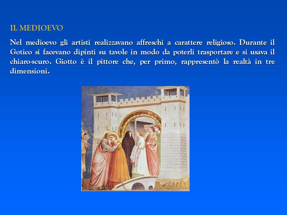IL MEDIOEVO Nel medioevo gli artisti realizzavano affreschi a carattere religioso. Durante il Gotico si facevano dipinti su tavole in modo da poterli