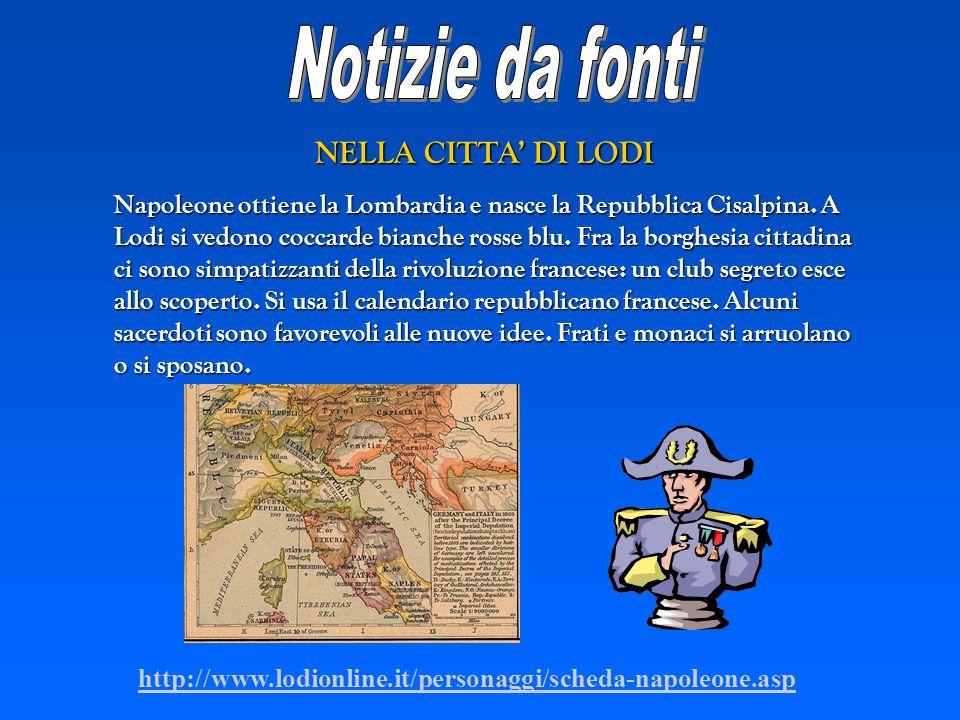 NELLA CITTA DI LODI Napoleone ottiene la Lombardia e nasce la Repubblica Cisalpina. A Lodi si vedono coccarde bianche rosse blu. Fra la borghesia citt