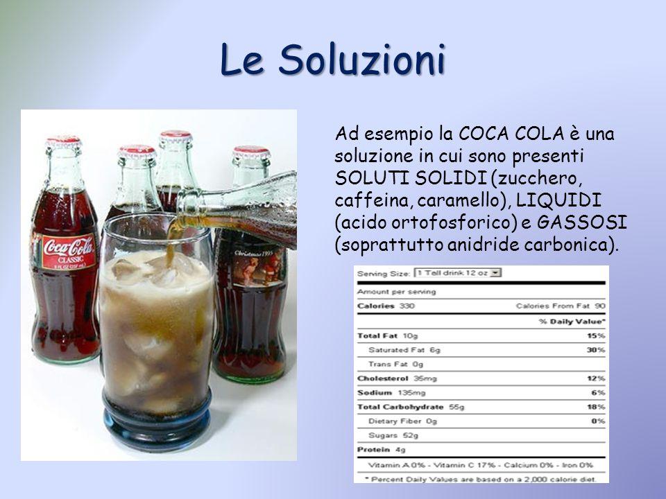 Le Soluzioni Ad esempio la COCA COLA è una soluzione in cui sono presenti SOLUTI SOLIDI (zucchero, caffeina, caramello), LIQUIDI (acido ortofosforico)