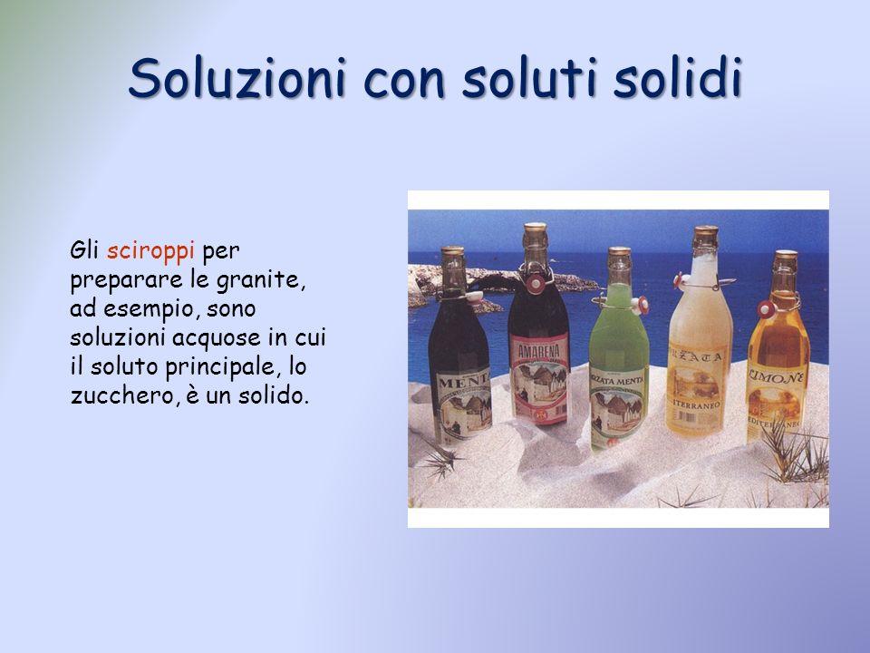 Soluzioni con soluti solidi Gli sciroppi per preparare le granite, ad esempio, sono soluzioni acquose in cui il soluto principale, lo zucchero, è un s