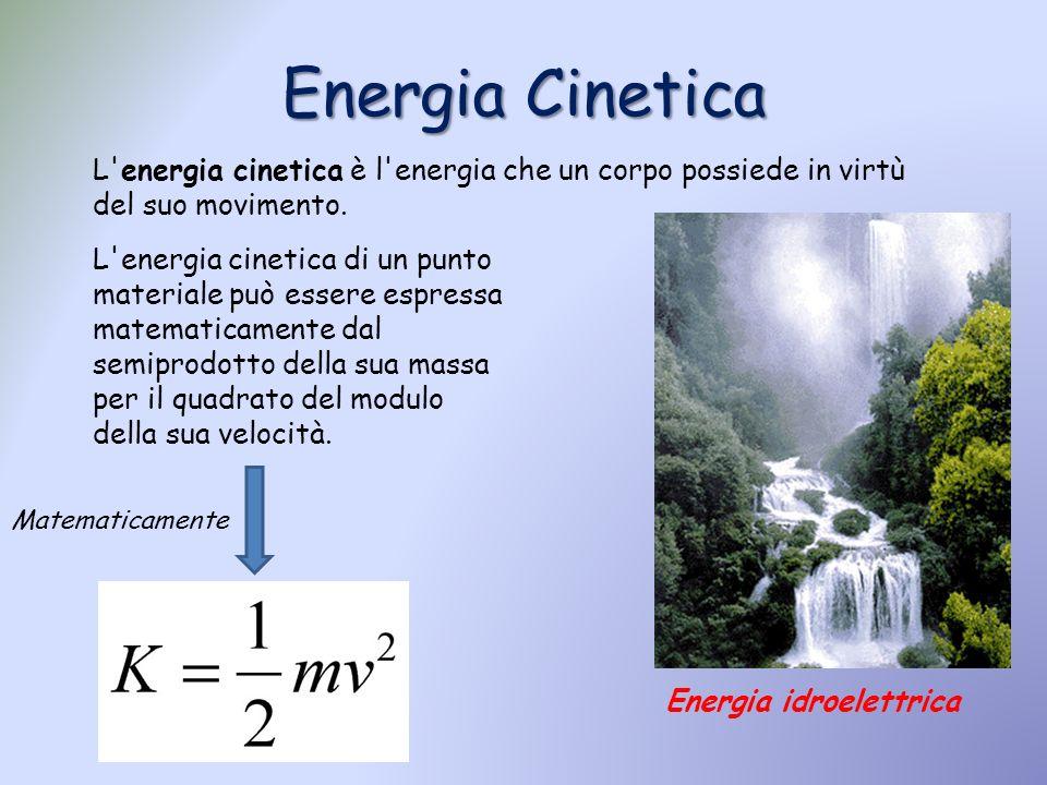L'energia cinetica è l'energia che un corpo possiede in virtù del suo movimento. L'energia cinetica di un punto materiale può essere espressa matemati