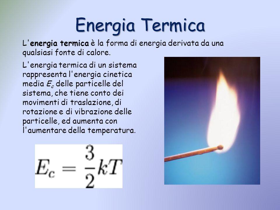 Energia Termica L'energia termica è la forma di energia derivata da una qualsiasi fonte di calore. L'energia termica di un sistema rappresenta l'energ
