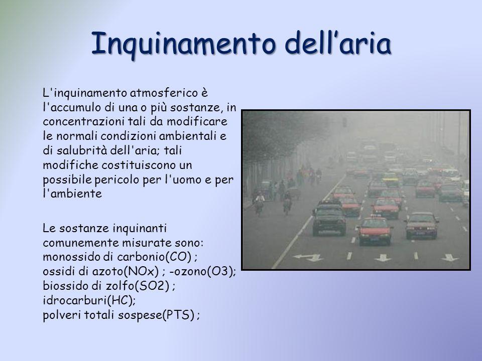 L'inquinamento atmosferico è l'accumulo di una o più sostanze, in concentrazioni tali da modificare le normali condizioni ambientali e di salubrità de