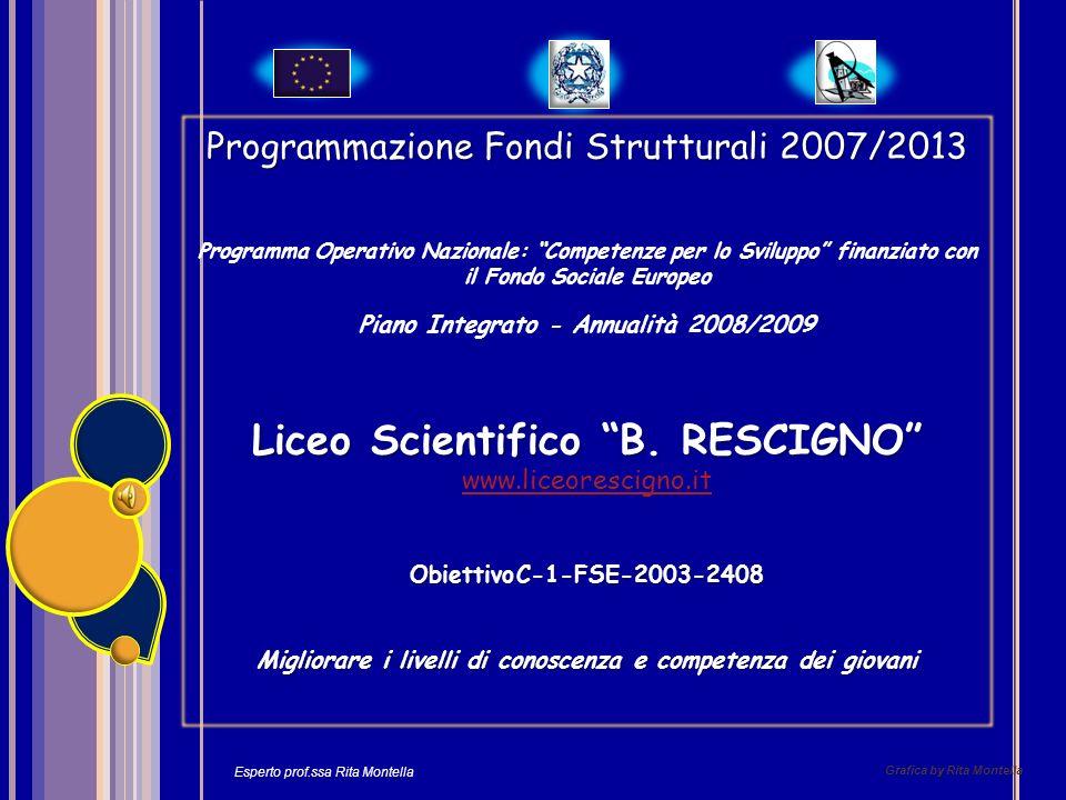 Grafica by Rita Montella Programmazione Fondi Strutturali 2007/2013 Programma Operativo Nazionale: Competenze per lo Sviluppo finanziato con il Fondo