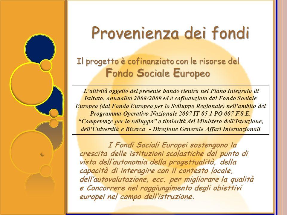 Provenienza dei fondi Il progetto è cofinanziato con le risorse del F ondo S ociale E uropeo I Fondi Sociali Europei sostengono la crescita delle isti