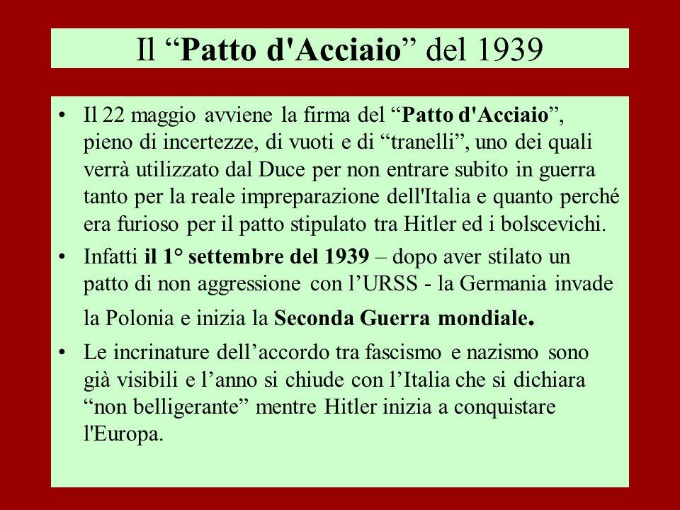 Il Patto d'Acciaio del 1939 Il 22 maggio avviene la firma del Patto d'Acciaio, pieno di incertezze, di vuoti e di tranelli, uno dei quali verrà utiliz