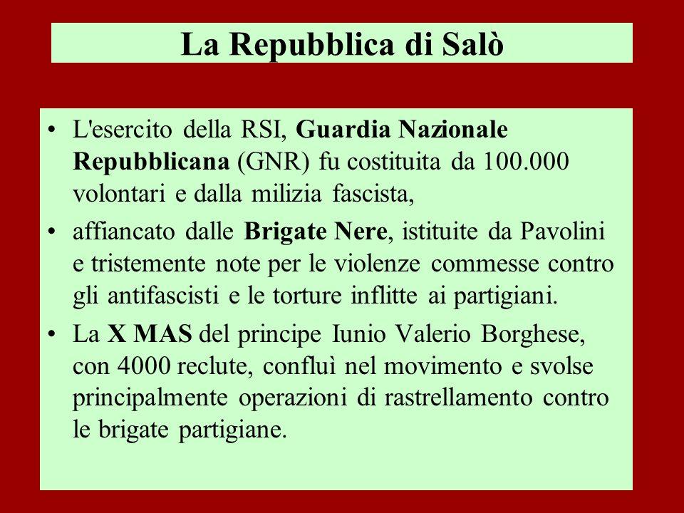 La Repubblica di Salò L'esercito della RSI, Guardia Nazionale Repubblicana (GNR) fu costituita da 100.000 volontari e dalla milizia fascista, affianca