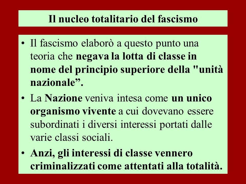 Il nucleo totalitario del fascismo Il fascismo elaborò a questo punto una teoria che negava la lotta di classe in nome del principio superiore della