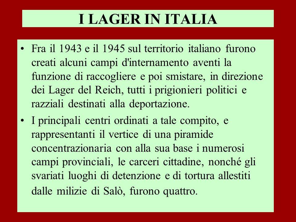 I LAGER IN ITALIA Fra il 1943 e il 1945 sul territorio italiano furono creati alcuni campi d'internamento aventi la funzione di raccogliere e poi smis