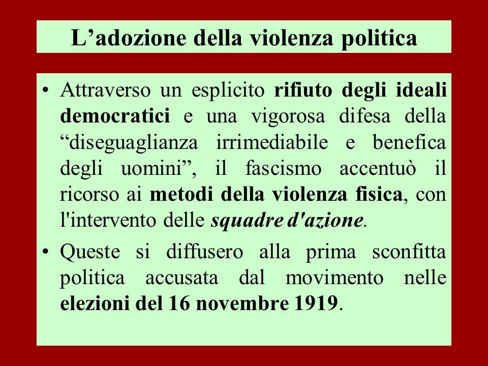 Ladozione della violenza politica Attraverso un esplicito rifiuto degli ideali democratici e una vigorosa difesa della diseguaglianza irrimediabile e