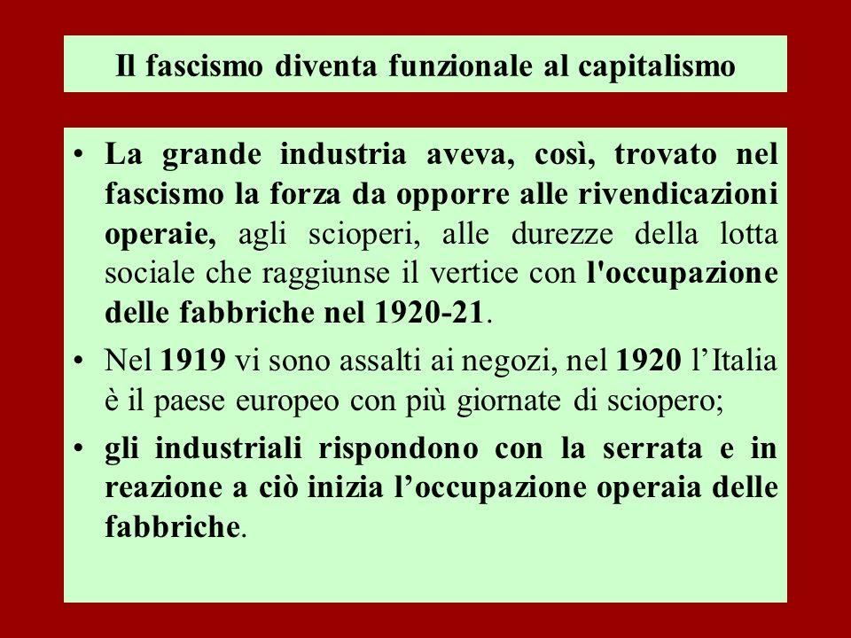 Il fascismo diventa funzionale al capitalismo La grande industria aveva, così, trovato nel fascismo la forza da opporre alle rivendicazioni operaie, a