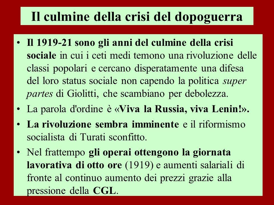 Il culmine della crisi del dopoguerra Il 1919-21 sono gli anni del culmine della crisi sociale in cui i ceti medi temono una rivoluzione delle classi