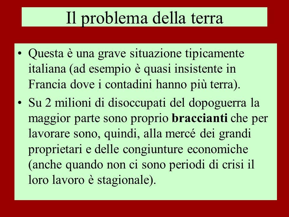 Il problema della terra Questa è una grave situazione tipicamente italiana (ad esempio è quasi insistente in Francia dove i contadini hanno più terra)