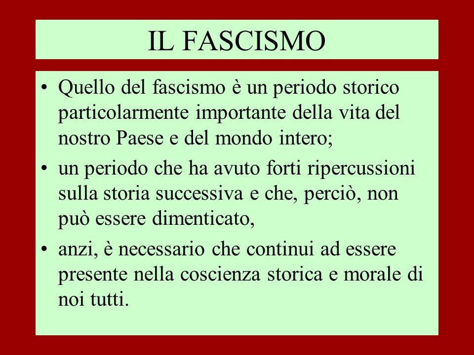 Quello del fascismo è un periodo storico particolarmente importante della vita del nostro Paese e del mondo intero; un periodo che ha avuto forti ripe